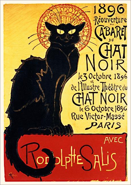 Schwarze Katze Chat Noir Paris Cabaret Cafe Plakate A3 126