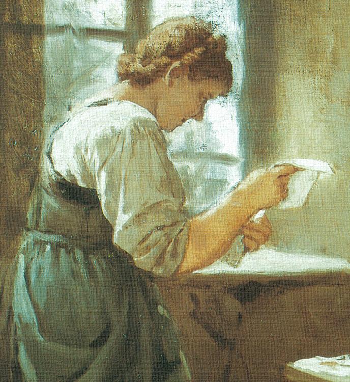 Die Briefleserin von 1883 Liebesbrief Franz Defregger A3 027
