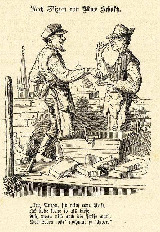 Ein Vormittag auf dem Gerüst Maurer Mörtel Kelle Scholtz Kalk Holzstich M 95